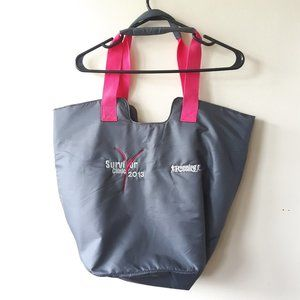 New Balance breast cancer gray large gym tote bag